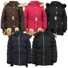 Girls Padded Jacket Kids Coat Fur Hooded Quilted BELT Sherpa ... & Girls-Padded-Jacket-Kids-Coat-Fur-Hooded-Quilted- Adamdwight.com