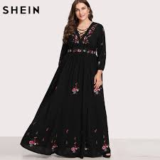 Shein Black Dresses Large Sizes Sexy Lace Up Front Flower