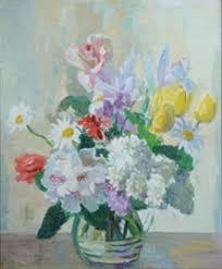 Flowers in a glass jug by Marcella Smith on artnet