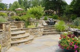 Backyard, Inspiring Cream Round Ancient Stone Backyard Landscaping Pictures  Ornamental Stone Floor And Flowers Design