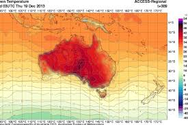 BOM weather map showing predicted temperatures