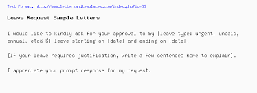 Letter Format For Vacation Leave Leave Request Email Letter