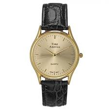 time america men s classic gold watch leather strap water resistant 100 feet gift box black