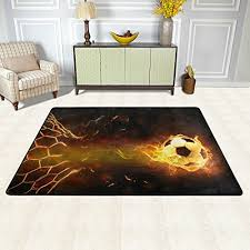 naanle sport area rug 2 x3 fire soccer ball polyester area rug mat for
