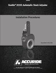 Gunite 2000 Automatic Slack Adjusters Manualzz Com