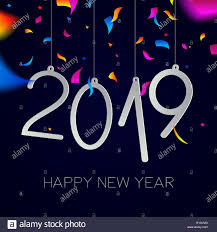 Happy New Year 2019 Greeting Card Illustration With Holiday Date