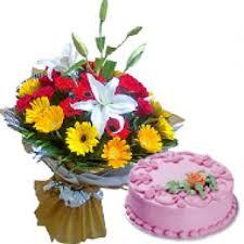 mix gerbera with strawberry cake gift chandigarh india