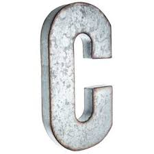 galvanized metal letter wall decor c