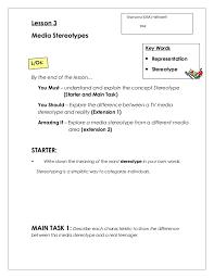 Lesson 3 media stereotypes worksheet