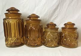 vintage amber glass canister set of 4 le smith moon and stars