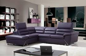 Purple Leather Sectional Sofa For Warm Living Room Decorations