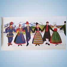 Vintage Illustrated Chart Of Swedish National Dress