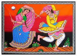 Diwali Glass Painting Designs Folk Dancers Sequin Work On Printed Cloth Rajasthani