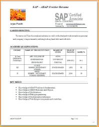 Sap Fico Sample Resume Resume For Sap Fico Freshers Sample Resume Format Sample Resume