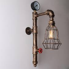 metal lighting. Copper Rustic Vintage Metal Cage Shade Water Pipe Wall Light Max. 40W Lighting