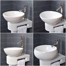 vroma basin sink bathroom countertop cloakroom wall bowl ceramic white art tap