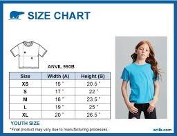 Anvil T Shirts Size Chart Anvil Youth Lightweight Tee