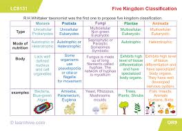 Biodiversity Classification Chart Learning Card For Five Kingdom Classification Biology