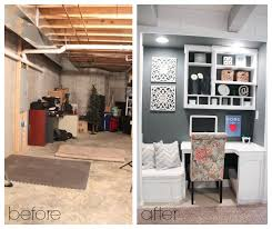 office nook custom built in for basement before after built in office