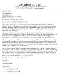 Teacher Cover Letter Template Sarahepps Com