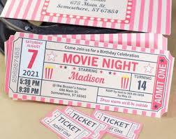 Movie Ticket Etsy