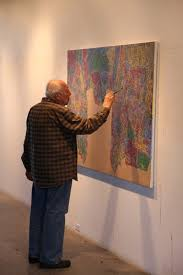 jasper johns working on a piece for his last show at moma 2016