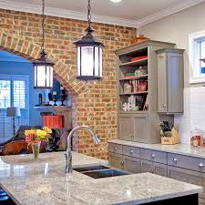 Kitchen:Earthy Kitchen With Exposed Brick Wall And Mosaic Backsplash And  Modern Appliance Adorable Rustic