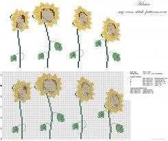 Four Sunflowers Flowers Elegant Cross Stitch Pattern Free