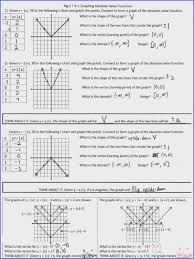 graphing absolute value functions worksheet answers unique linear functions worksheet gallery