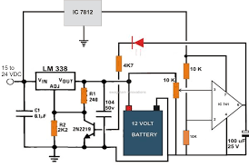 volt battery charging circuit diagram images vu meter circuit 6v 12v 24v battery charger circuit electronic projects