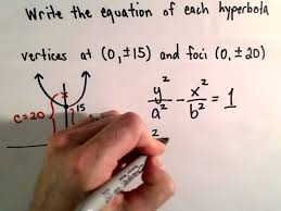 conic sections hyperbola find equation given foci and vertices you