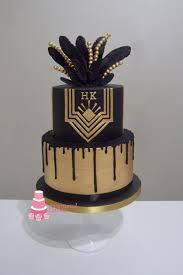 gold black drip gatsby cake