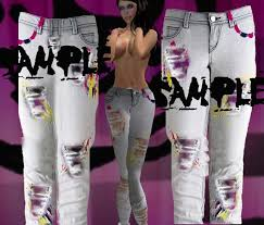 Create Your Own Pants Second Life Marketplace Hb Art Painted Ripped Jeans Tga