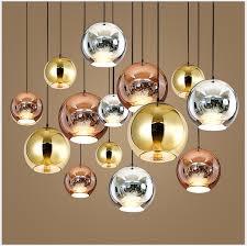 details about glass mirror ball ceiling pendant light modern tom dixon lamp chandelier 7 sizes