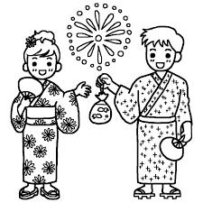カップル白黒花火大会の無料イラスト夏の季節行事素材