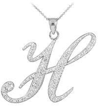 gold boutique cz script letter h pendant necklace in sterling silver