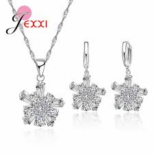 2019 jei fashion 925 stamped sterling silver flower drop pendant necklace vintage cz wedding bridal jewelry set earrings sets from homejewelry