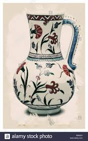 Chinoiserie Design On Pottery And Porcelain Iznik Style Chinoiserie Pottery Watercolor Series No 5d By