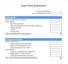 Cash Flow Layout Template Weekly Cash Flow Free Statement Example