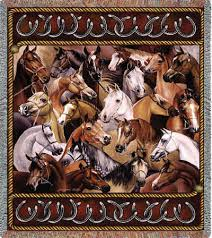 bridled horses throw tapestry