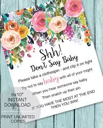 Baby Shower Clothes Pin Game Interesting Printable Don't Say Baby Clothespin Baby Shower Game Garden