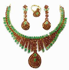 nice bridal design ruby emerald necklace with matching earrings gjisnmg27