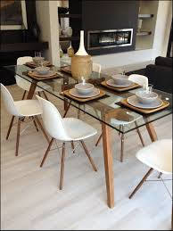 great glass dining table and dining chairs in walnut with glass bowl table centerpiece ideas