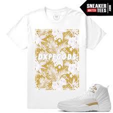 Match Ovo 12 Jordan Retro Dxpe Gods Gold Floral White T Shirt