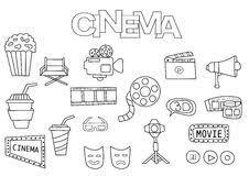 Icone Del Cinema Di Film Messe Oggetti Disegnati A Mano Variopinti