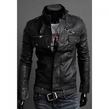 whole fashion style slimming stand collar multi zipper embellished pu leather men s jacket in black xl trendsgal com