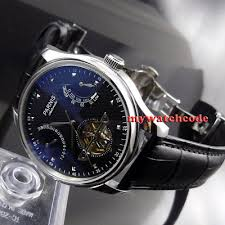 <b>43mm PARNIS black dial</b> date power reserve ST2505 automatic ...