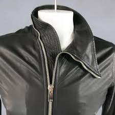 men s rick owens 38 black soft leather asymmetrical zip high collar moto jacket in excellent condition