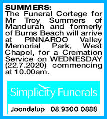 SUMMERS Troy | Funeral Notices | The West Announcements