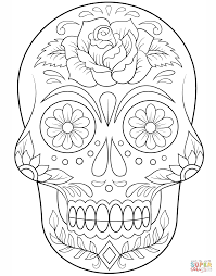 Sugar Skull With Flowers Super Coloring October Pinterest